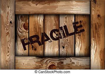 Fragile wooden box background. Vector