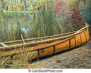 canoe - Indian canoe on lake shore...