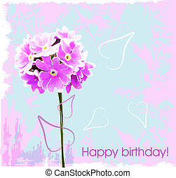 happy birthday card with pink flowe