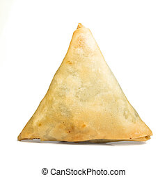 Cooked Samosa - Cooked golden Samosas from low perspective...