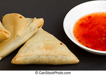 sweet chilli n samosa - Sweet chilli dipping sauce and...