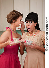 Shocked Woman - Pretty retro Caucasian women gossiping over...