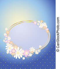 floral place card - an illustration of a pastel blue place...