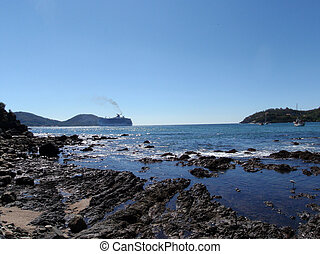 Bay of Zihuatanejo, mexico with bird playing in shore and Cruiseship in the background on a clear day