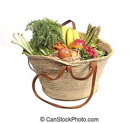 Organic fruit and vegetables in shopping bag - Eco friendly...