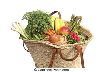 Vegetables and fruit in shopping bag