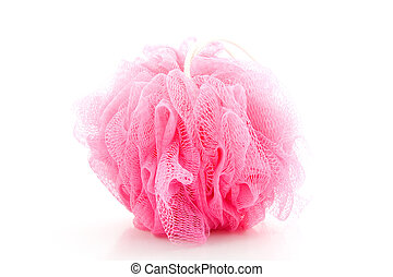 Pink sponge for showering isolated on white background