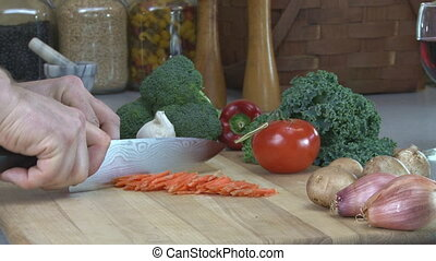 Carrots julienne 2 - Julienne slicing carrots into...