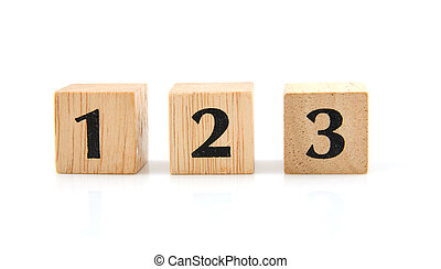 Wooden blocks with numbers - Wooden blocks with the number 1...