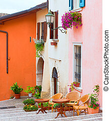 italian small town street - traditional italian small town...