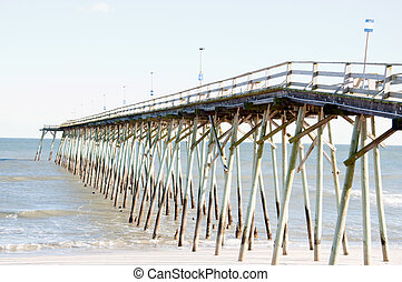HDR Image of Pier in Carolina Beach, NC on a Bright Clear...