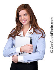 Cute businesswoman carrying a laptop over white background