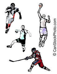 sport quartet - illustration of the four sportsmen