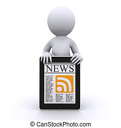 3d human read his online news Isolated
