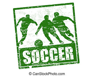 Soccer stamp - Soccer grunge stamp with players silhouette,...