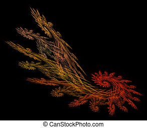 Frond Shaped Fractal in Fall Colors - Frond shaped fractal...