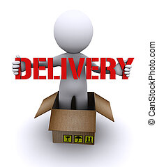 """Delivery man holding """"delivery"""" sign - 3d chatacter..."""