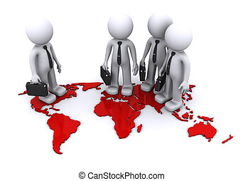 Global Team concept - three businesmen standding on world...