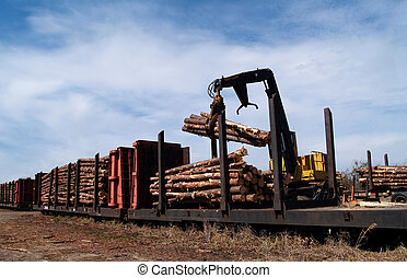 Loading Logs on a Railcar - Crane loading cut logs on a...