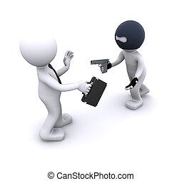 3d character robbing a businessman