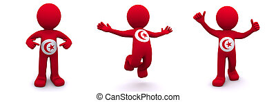 3d character textured with flag of Tunis - 3d character...