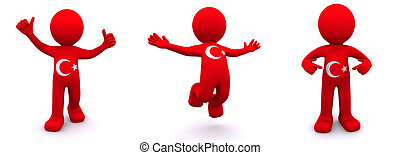3d character textured with flag of Turkey - 3d character...