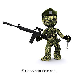 3d soldier textured with camouflage - 3d soldier isolated on...