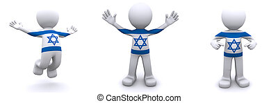 3d character textured with flag of Israel isolated on white...