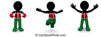 3d character textured with flag of Kenya isolated on white...