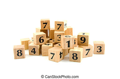 A lot of wooden blocks with numbers isolated on white...