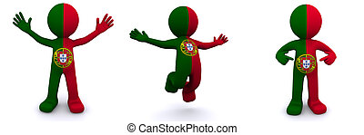 3d character textured with flag of Portugal isolated on...
