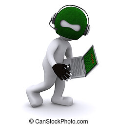 Cartoon hacker with laptop. Isolated