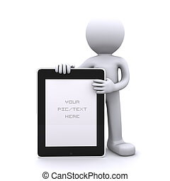 3D man holding a blank tablet pc Advertising concept...