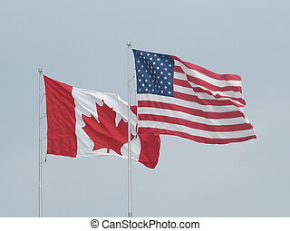 Canadian and US flags - Sarnia