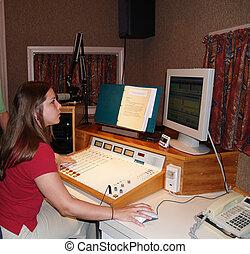 à, DJ, lavorativo, radio, stazione