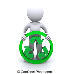 3D man hold recycling symbol. Isolated