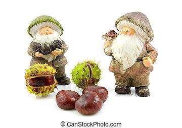 otoño, piedra, castañas, muñeca