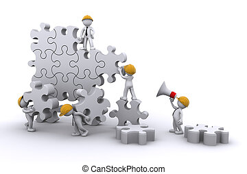 business team work building a puzzle Business developing...