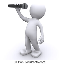 3d singer with microphone . Isolated