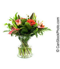 Bouquet of flowers in glass vase isolated on white...