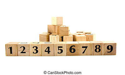 Row wooden blocks with numbers 1 to 9 isolated on white...