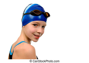 Girl in swimsuit - Young girl in swimsuit ready for contest...