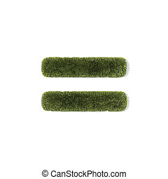 grass font - equal symbol - Equal symbol of grass, isolated...