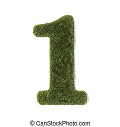 grass font - number 1 - Number 1 of grass, isolated on white...