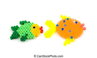 Bead arts in the shap of fish - Bead arts in the shape of...
