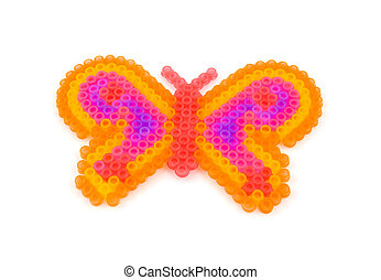 Beads art in the shape of butterfly made by children,...
