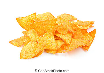 Pile of tortilla chips in closeup over white background