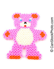 bead arts in shape of bear - Bead arts in shape of pink bear...