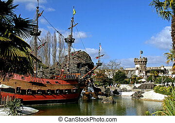 Pirate ship in pirate environment - Pirate ship in pirate...