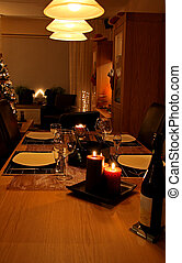 Table set for christmas dinner - Romantic table set for...